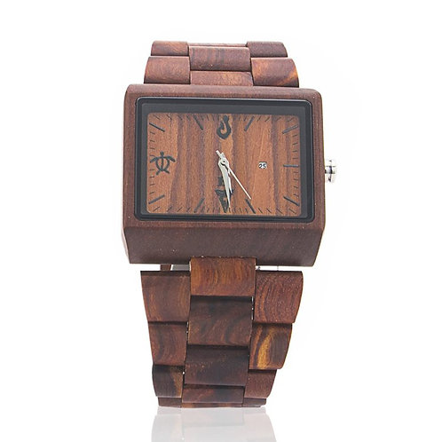 Bean and Vanilla Spear - Red Sandalwood - Square Mens Wood Watch