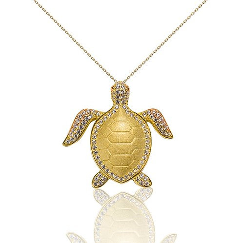 Bean & Vanilla Turtle with Cubic Zirconia Crystals Pendant ONLY