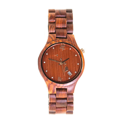 Bean and Vanilla Harmony - Red Sandalwood - Mens Wood Watch