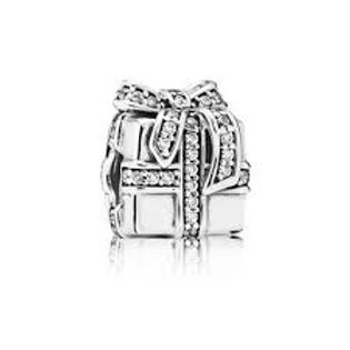 Pandora Gift silver Charm with Cubic Zirconia