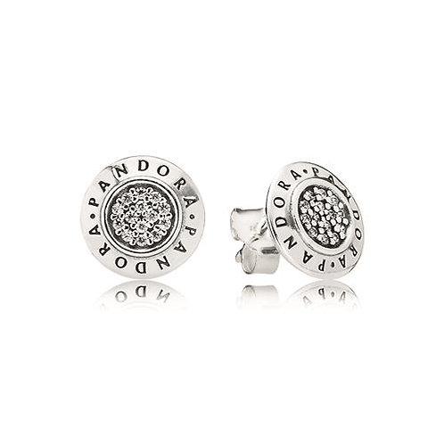 Pandora Signature Silver Stud Earrings, Clear CZ
