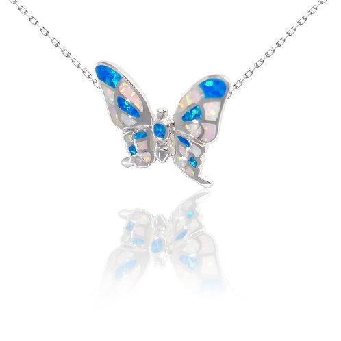 Bean & Vanilla Opal Pulelehua Bluewhite Butterfly Pendant ONLY