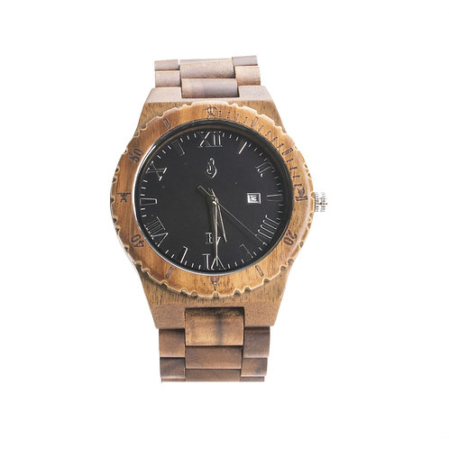 Bean and Vanilla Shark - Koa Wood with Roman Numerals - Mens Wood Watch, Brown