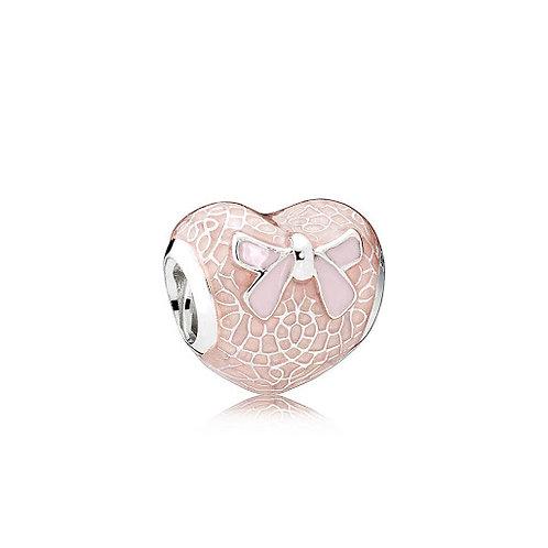 Pandora Pink Bow & Lace Heart Charm