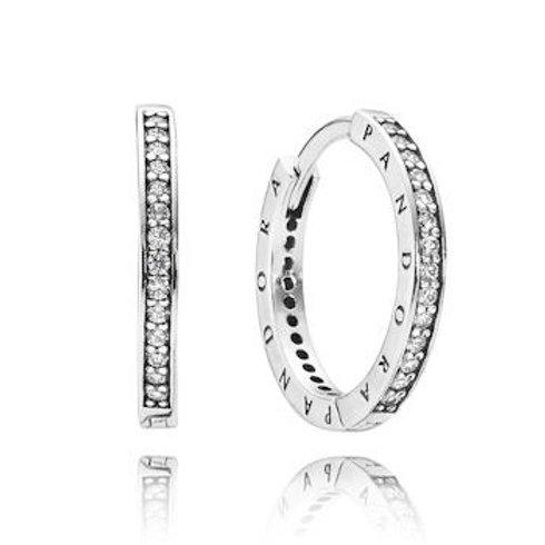 Pandora Sparkle & Pandora Logo Hoop Earrings