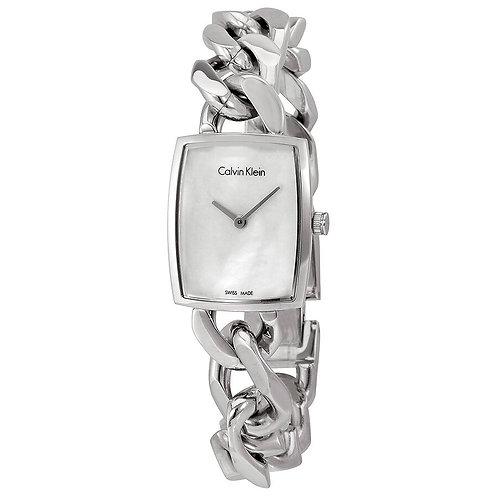 Calvin Klein Amaze Silver Dial Steel Bangle Ladies Watch