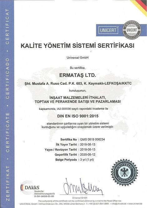 Ermataş Ltd. Kalite Yönetim Sistemi Sertifikası