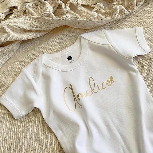 Personalized Onesie | Gold Wreath Collection