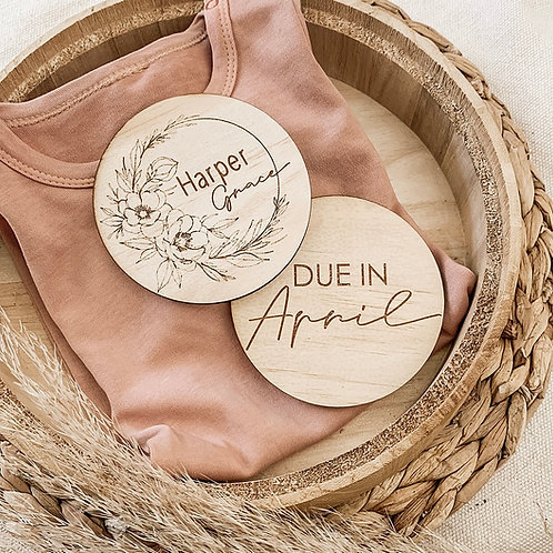 Name and Month Wooden Disc Set