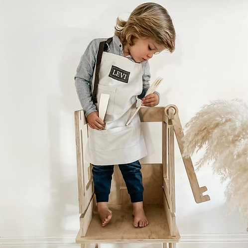Kids Cotton and Leather Personalized Apron