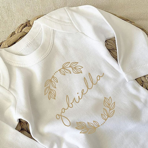 Personalized Romper with Leaf Design