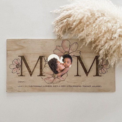 Personalized Photo Board For Mom  | Hand Painted Blooms