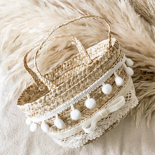 Boho Basket With Velvet Bow