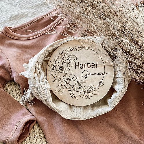 Floral Personalized Wooden Disc