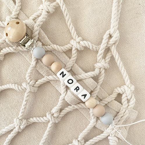 Personalized Pacifier Clip with Grey Beads