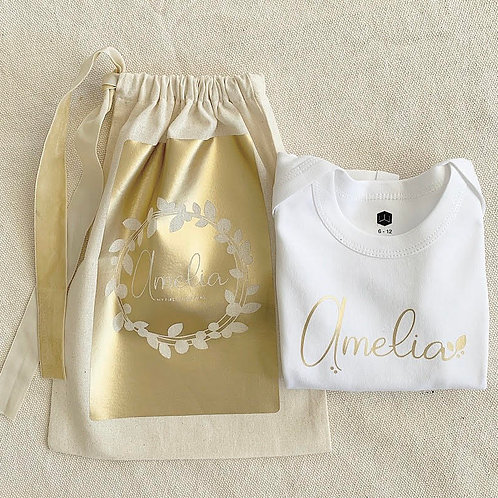 Personalized Onesie and Sack Gift Set | Gold Wreath Collection