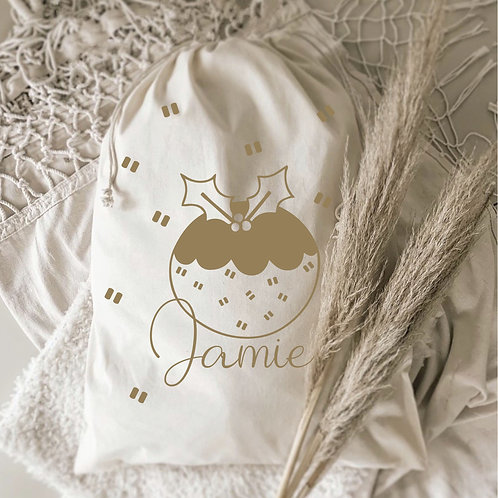 Personalized Christmas Pudding Gift Sack