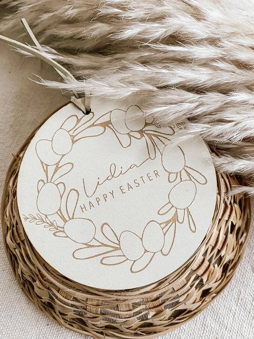 Personalized Wooden Tag | Easter Wreath