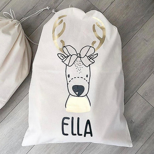 Personalized Gift Sack | Girl Reindeer