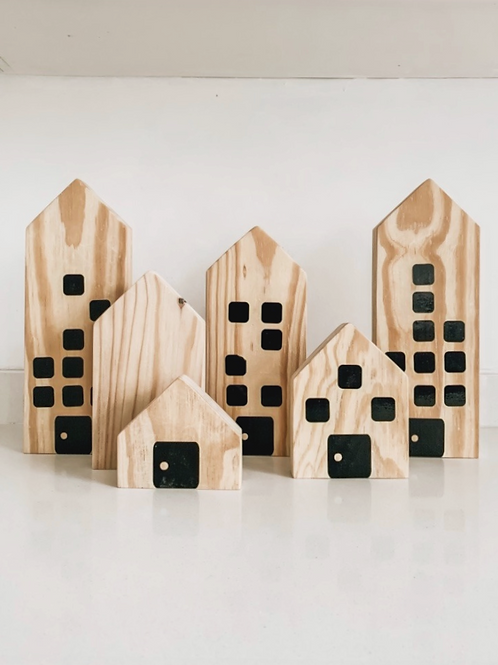 Wooden Buildings | set of 5