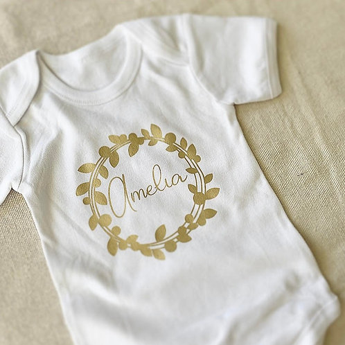 Personalized Wreath Onesie   Gold Wreath Collection