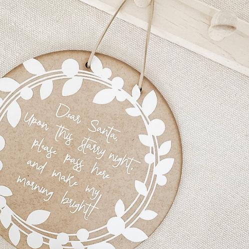 Wooden Hanging Disc | Dear Santa
