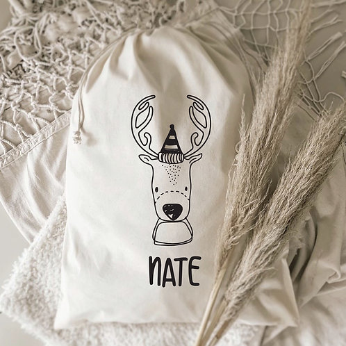 Modern Reindeer Personalized Gift Sack