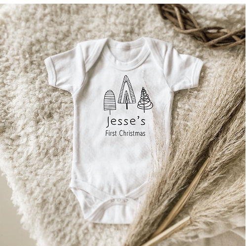 Personalized First Christmas Twirly Trees Onesie | Tshirt