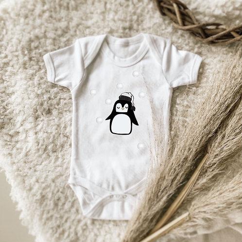 Penguin with Pom Pom Snow Balls Onesie | Tshirt