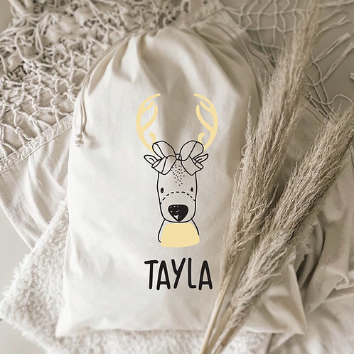 Modern Reindeer Personalized Gift Sack