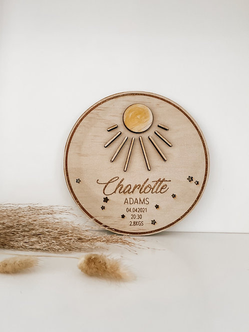 Personalized Wooden Disc   Sun