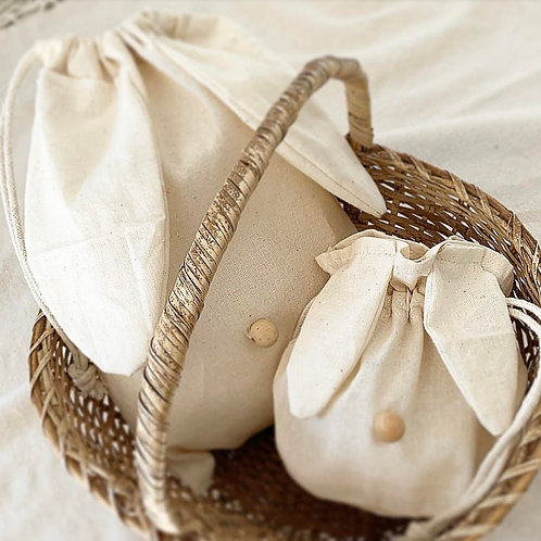 Cotton Drawstring Bunny Sack with Wooden Nose Set