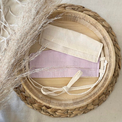 Pleated Lilac Cotton Mask With Wooden Bead Toggle | I'm Reversible