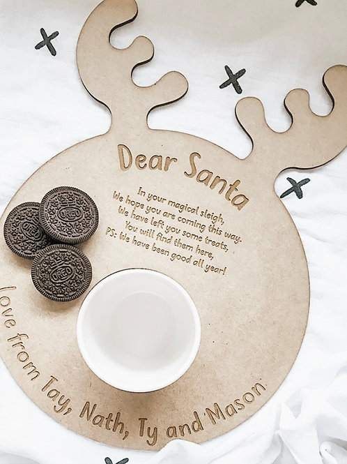 Personalized Wooden Reindeer Plate