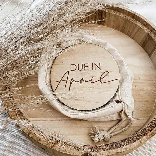 Due In Month Wooden Disc