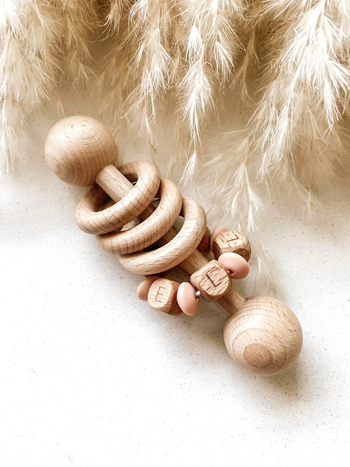 Personalized Wooden Rattle | Wooden Letter Beads