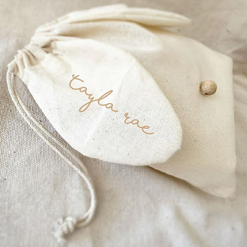 Personalized Cotton Drawstring Bunny Sack with Wooden Nose