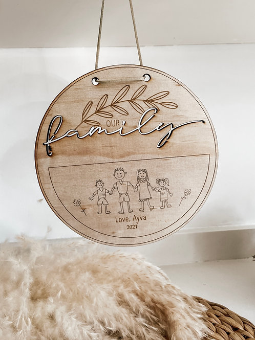 Our Family Disc | Personalized Drawing Plaque
