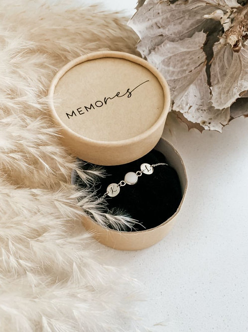 Milk Bead with Personalized Silver Discs