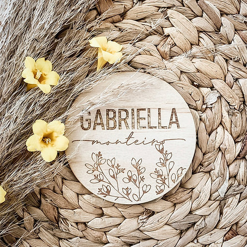 Wildflower Personalized Wooden Disc
