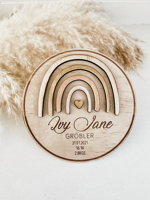 Personalized Wooden Disc   Rainbow