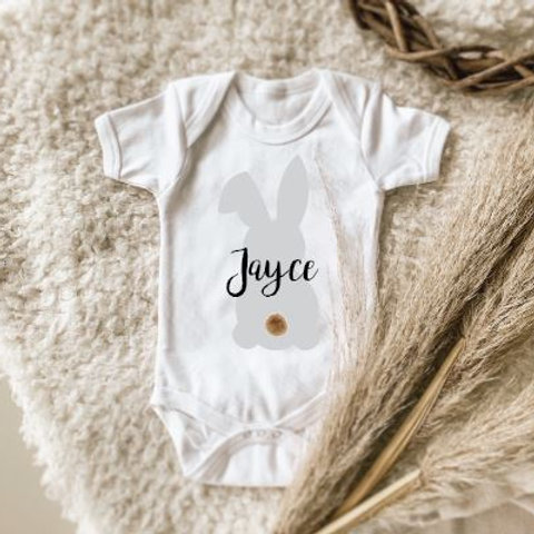 Personalized Onesie | Tshirt with Silver Bunny