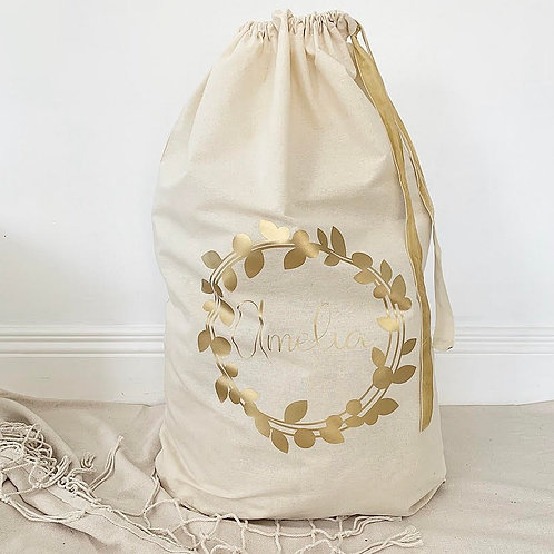 Personalized Gift Sack | Gold Wreath Collection