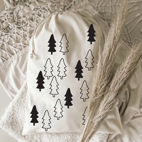 Snowy Trees Christmas Sack
