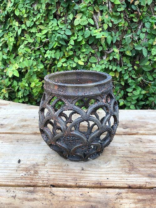 Scallop Bronze Crackled Vase