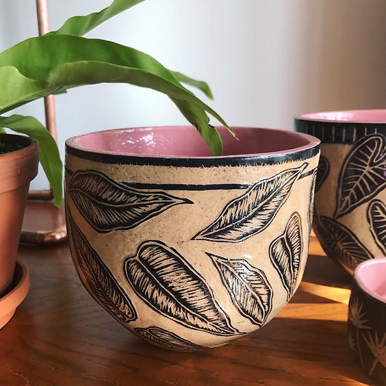 Sgraffito Floral Pots