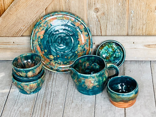 """Teal Flame"" Assorted Pieces"