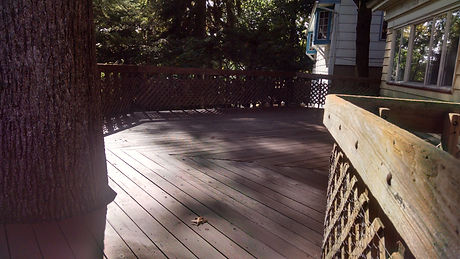 Freshly stained and painted deck