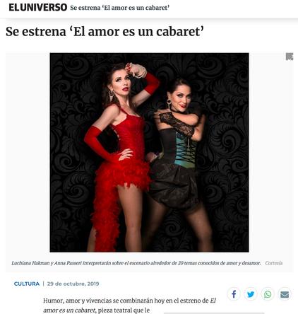 El Amor Es un Cabaret - Diario El Universo