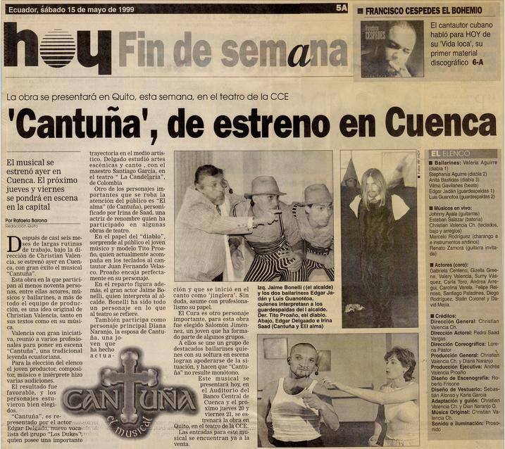 Cantuña, el musical - Diario Hoy 1999.pn